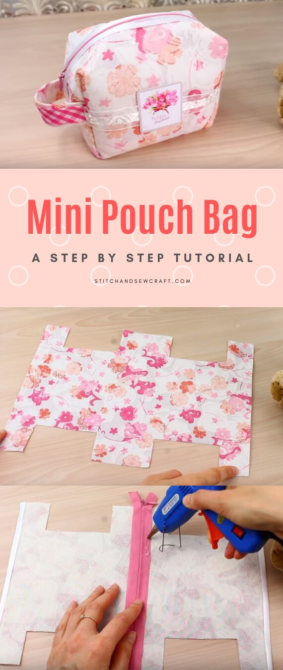 mini pouch bag stitchandsewcraft.com #stitchandsewcraft #freesewing #pouchbag #freesewingtutorial