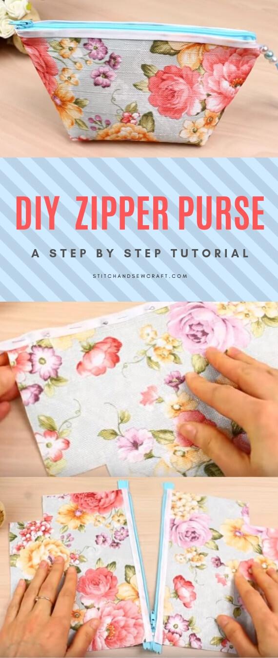 Zipper purse tutorial stitchandsewcraft.com #stitchandsewcraft #freesewing #zipperpurse #freesewingtutorial