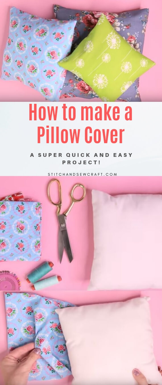 How to make a Pillow Cover really fast stitchandsewcraft.com #stitchandsewcraft #freesewing #pillowcover #freesewingtutorial
