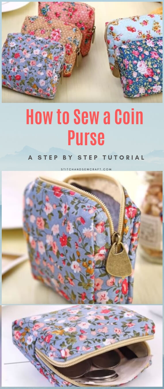 Cute zipper coin purse stitchandsewcraft.com #stitchandsewcraft #freesewing #coinpurse #freesewingtutorial