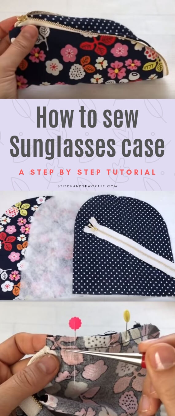 How to sew a Sunglasses case stitchandsewcraft.com #stitchandsewcraft #freesewing #sunglassescase #freesewingtutorial