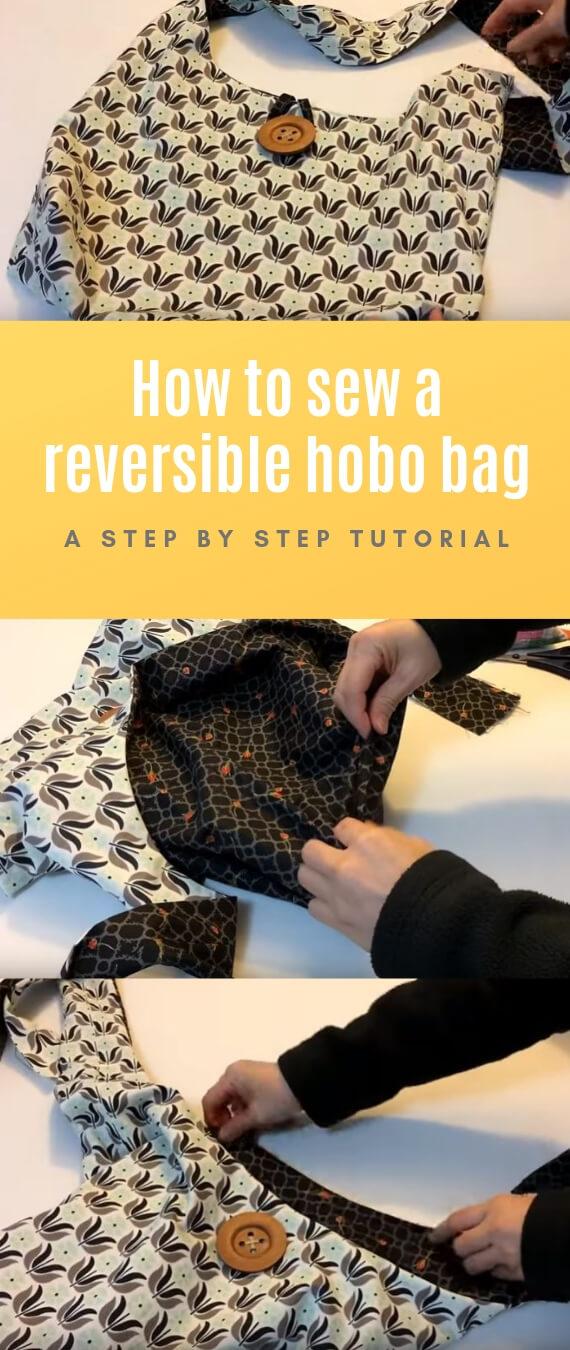 Sew a Reversible Hobo bag stitchandsewcraft.com #stitchandsewcraft #freesewing #hobobag #freesewingtutorial