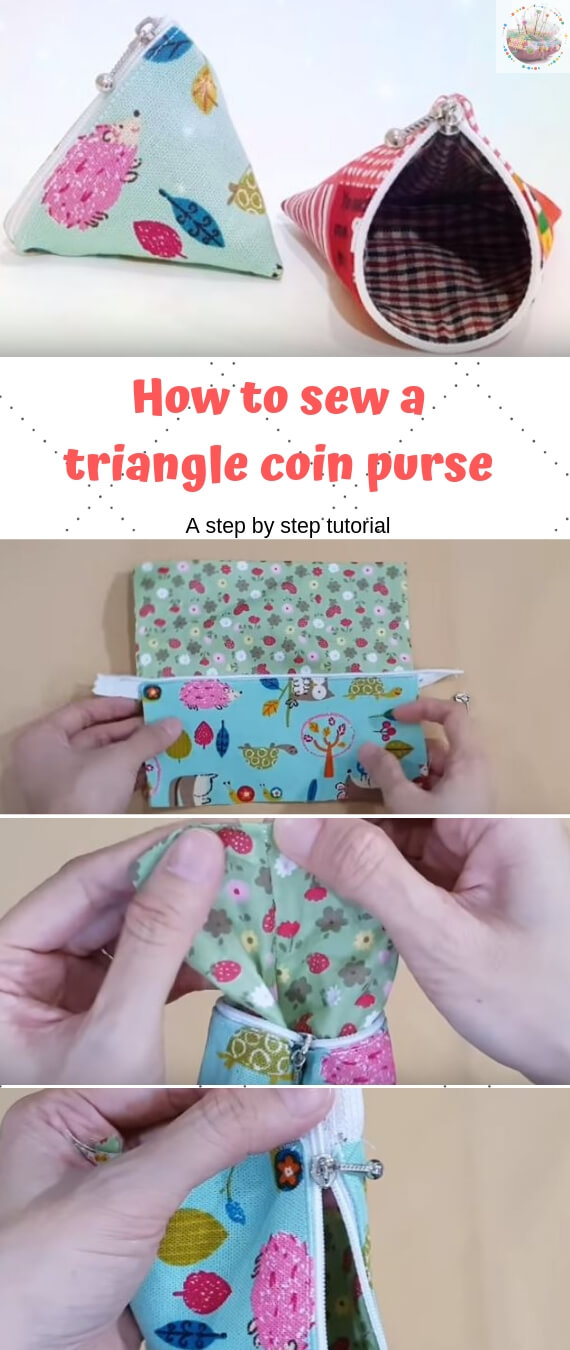 How to sew a triangle coin purse stitchandsewcraft.com #stitchandsewcraft #freesewing #coinpurse #freesewingtutorial