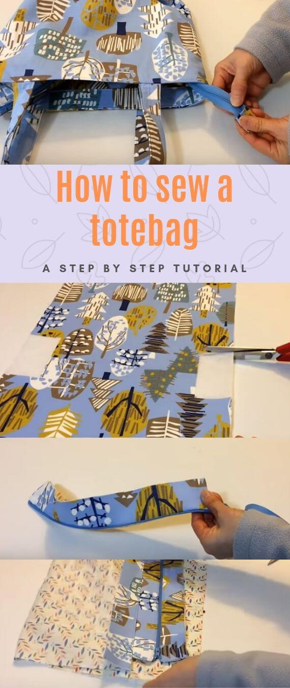 How to sew a totebag stitchandsewcraft.com #stitchandsewcraft #freesewing #sewtotebag #shorts #freesewingtutorial