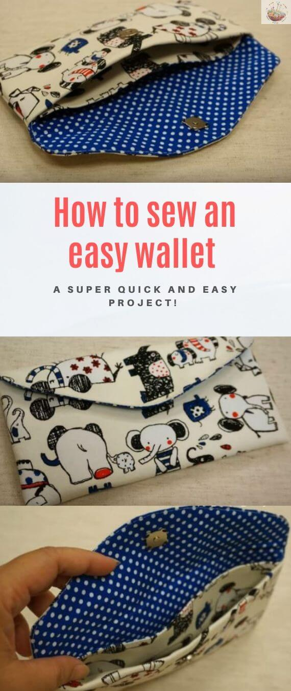 How to sew an easy wallet stitchandsewcraft.com #stitchandsewcraft #freesewing #seweasywallet #wallet #freesewingtutorial