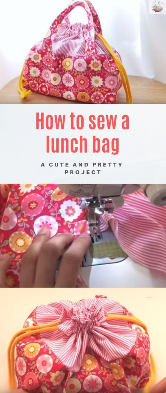 How to sew a lunch bag stitchandsewcraft.com #stitchandsewcraft #freesewing #lunchbag #freesewingtutorial