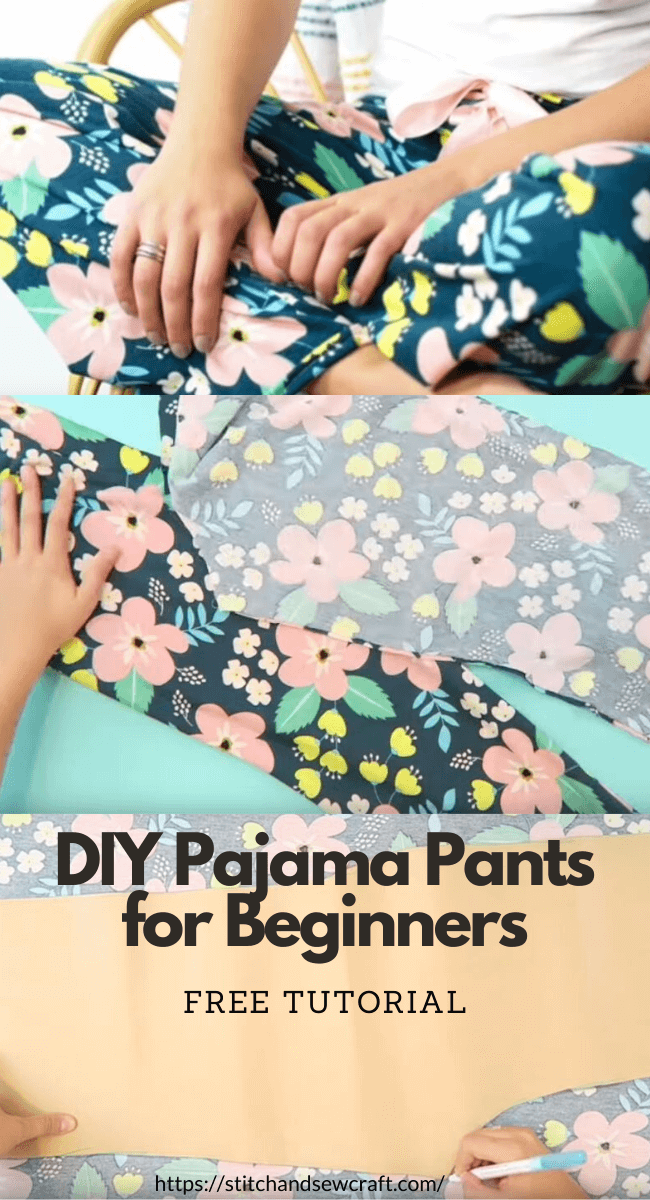 Sewing: DIY Pajama Pants for Beginners stitchandsewcraft.com #stitchandsewcraft #freesewing #pajama #shorts #freesewingtutorial