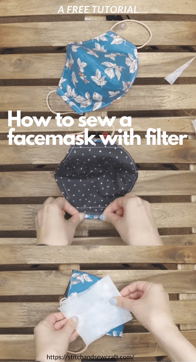 How to sew a facemask with filter stitchandsewcraft.com #stitchandsewcraft #freesewing #sewfacemask #shorts #freesewingtutorial